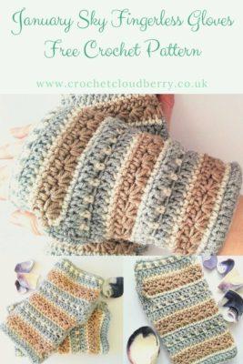 Free Fingerless gloves crochet pattern from Crochet Cloudberry. Pretty wrist warmers using crochet star stitch.