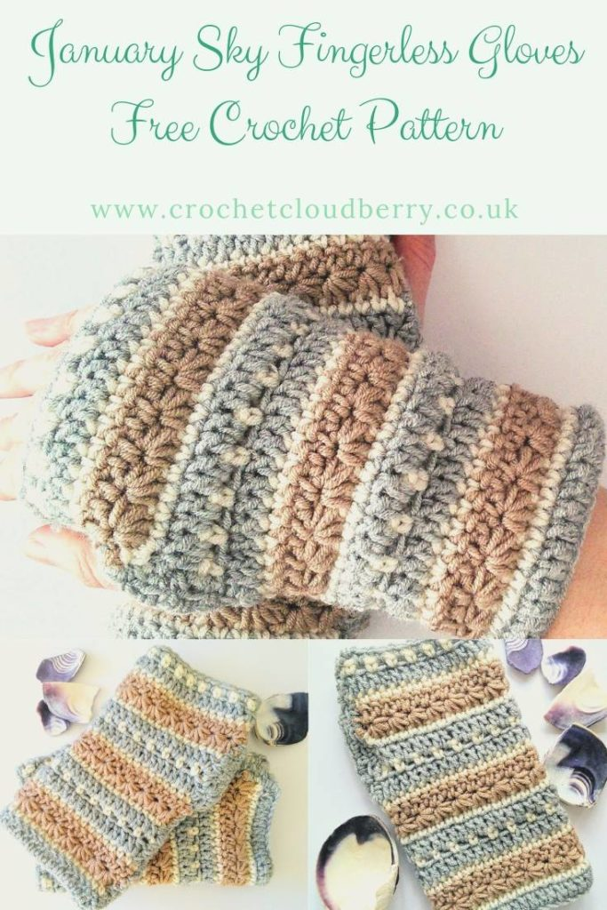 Free Fingerless gloves crochet pattern from Crochet Cloudberry. Pretty wrist warmers using crochet star stitch.