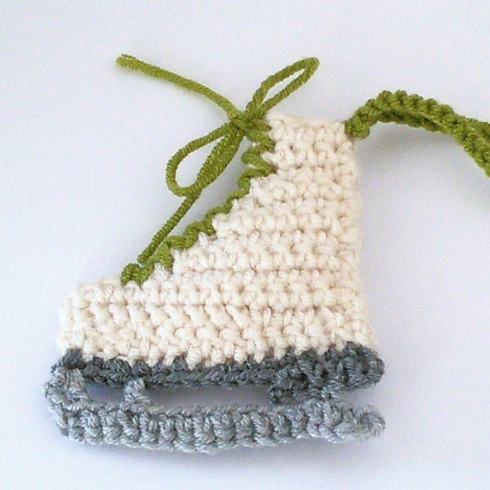 Free Crochet Pattern Christmas Iceskate Ornament