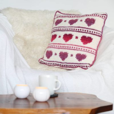 Crochet pattern hygge heart cushion cover