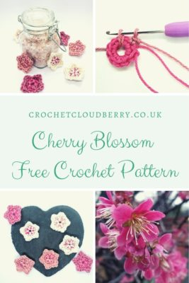 Free cherry blossom crochet pattern from Crochet Cloudberry. Fast and easy, a perfect quick project.