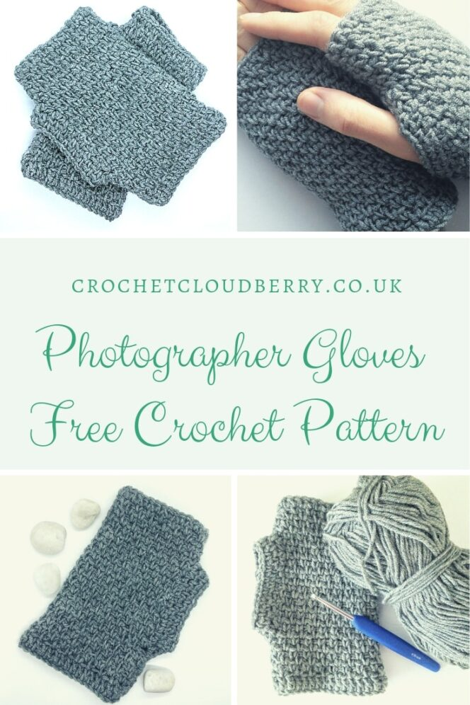 Free crochet pattern for fingerless gloves by Crochet Cloudberry