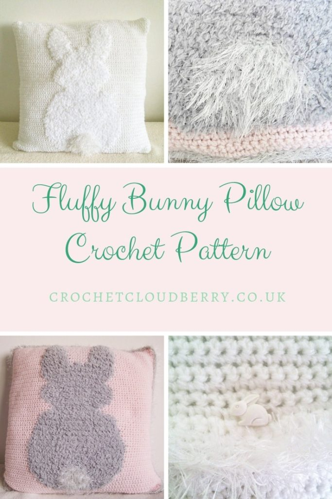 Fluffy bunny crochet cushion pattern
