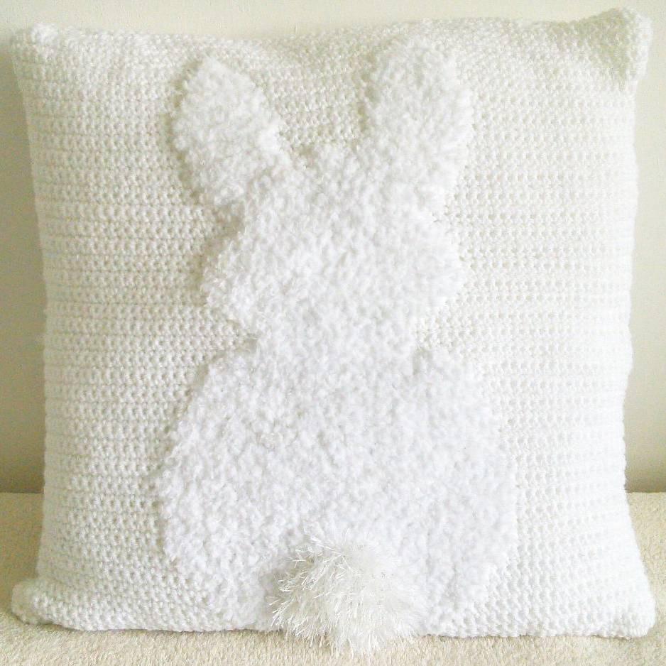 Fluffy bunny crochet cushion pattern