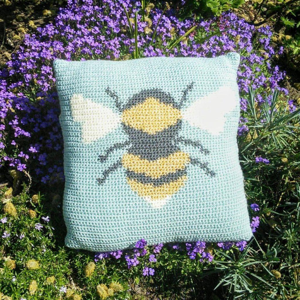 Bee Crochet Cushion Cover