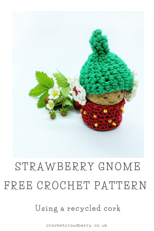 Strawberry Cork Gnome - Free Crochet Pattern - Crochet Cloudberry
