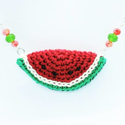 Trendy watermelon necklace - free crochet pattern -crochet cloudberry