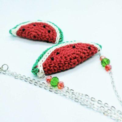Trendy watermelon necklace - free crochet pattern -crochet cloudberry