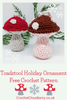 Toadstool Christmas Bauble - Free Crochet Pattern - Crochet Cloudberry