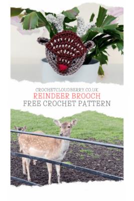 Crochet reindeer brooch - free crochet pattern - crochet cloudberry