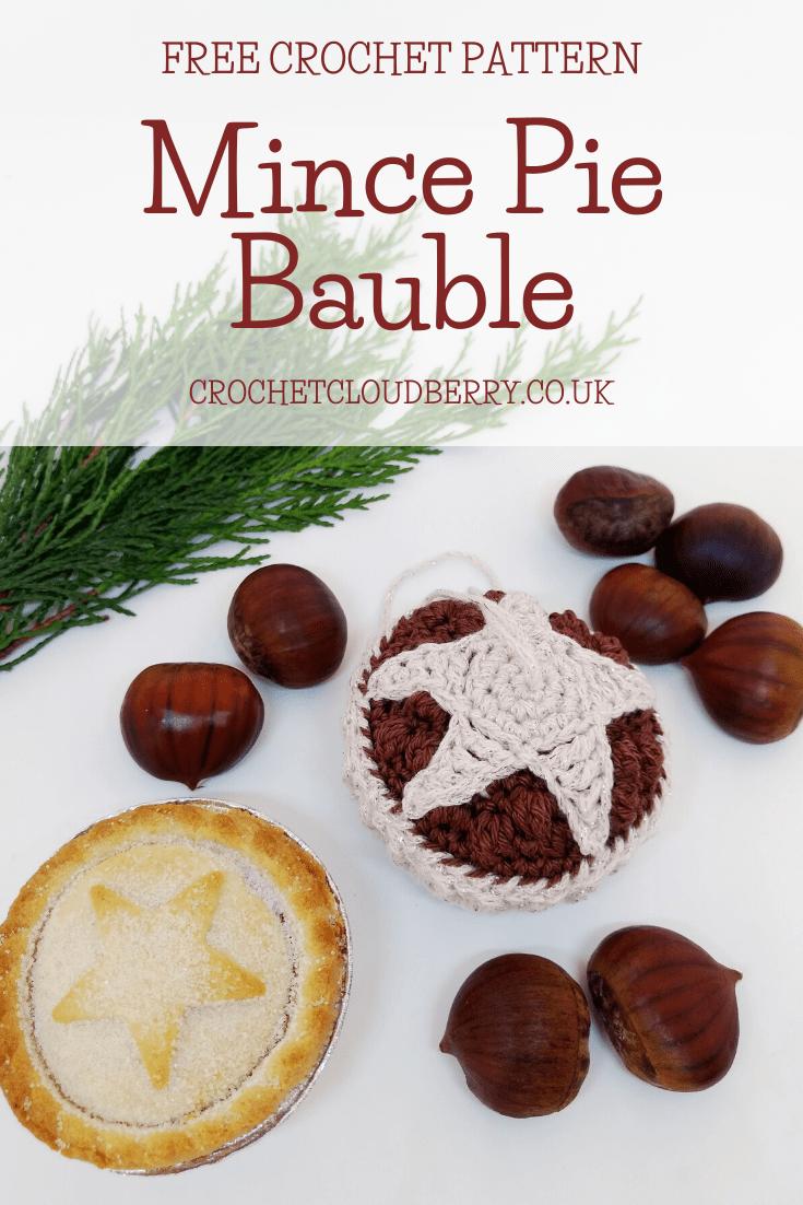 Crochet Mince Pie Christmas Bauble- Free Crochet Pattern - Crochet Cloudberry
