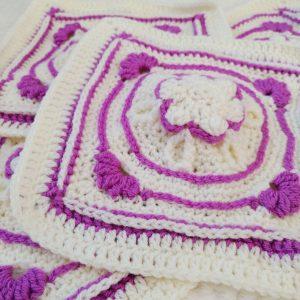 Amethyst Flower Granny Square - Winter Jewel Lapghan Free CAL - Crochet Cloudberry