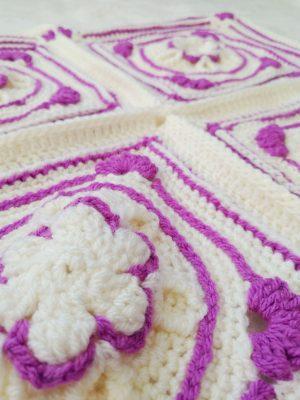 Amethyst Flower Granny Square - Winter Jewel Lapghan Free Crochet Along - Crochet Cloudberry