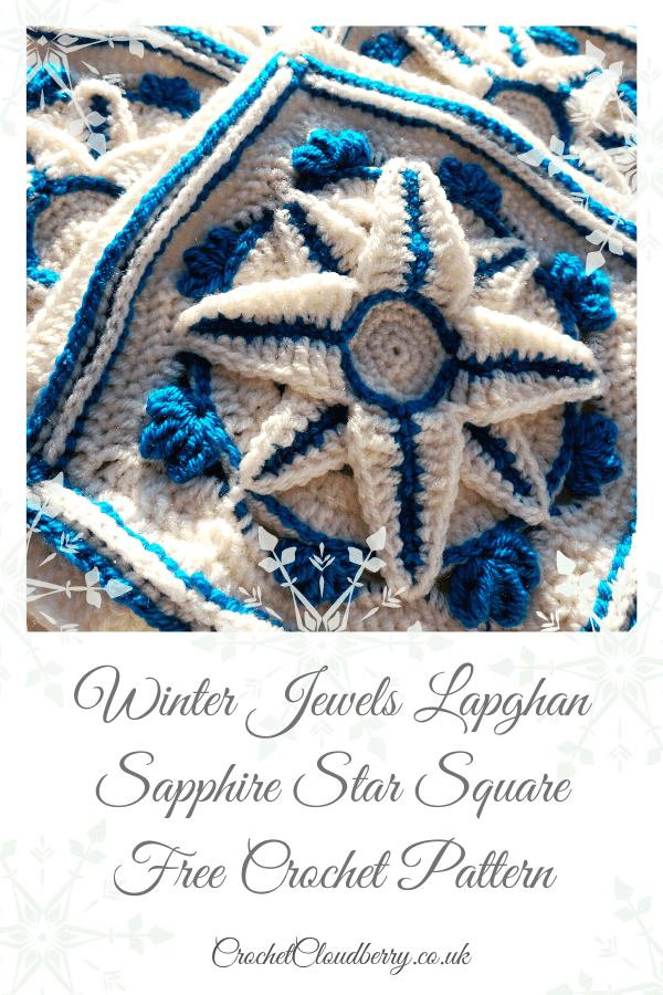 Saphire Star Granny Square Pattern - Winter Jewel Lapghan Free Crochet Along - Free Crochet Pattern - Crochet Cloudberry