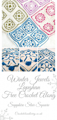 Saphire Star Granny Square Pattern - Winter Jewel Lapghan Free Crochet Along - Free Crochet Pattern - Crochet Cloudberry