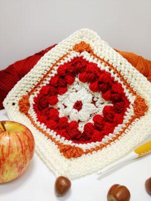 Cranberry Pie Granny Square - free crochet pattern - autumn crochet