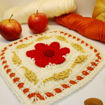 Poppy and Corn Granny Square - free crochet pattern - crochet cloudberry