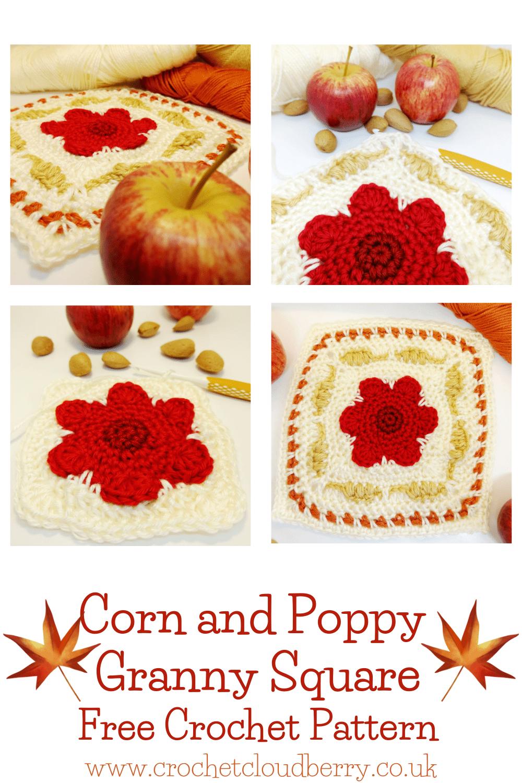 Poppy and Corn Granny Square - free crochet pattern - crochet cloudberry